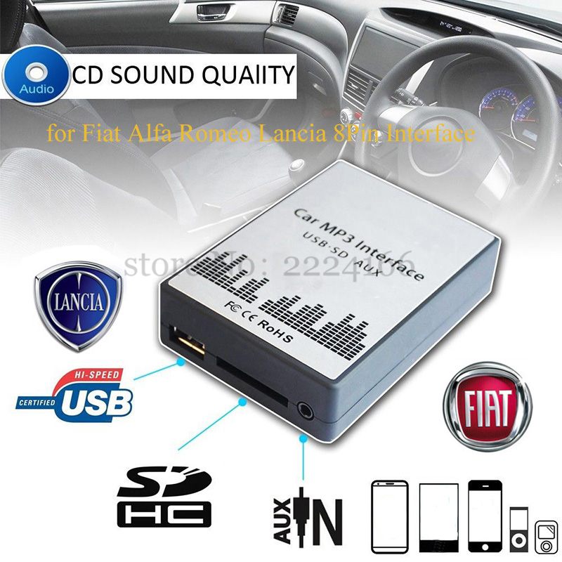 USB SD AUX car MP3 music player Adapters CD machine change  for Fiat Alfa Romeo Lancia 8PIN Interface,car kit styling yatour car adapter aux mp3 sd usb music cd changer 6 6pin connector for toyota corolla fj crusier fortuner hiace radios