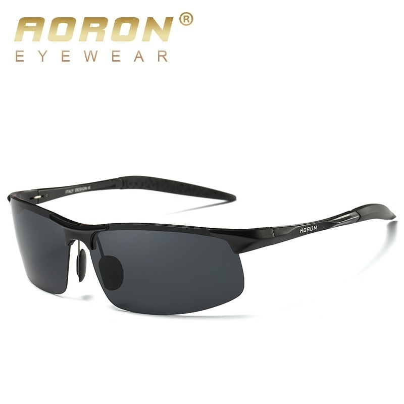 AORON Aluminum Men Sunglasses Polarized Coating Mirror Sun Glasses oculos for Male <font><b>Polic</b></font> lunette de soleil homme sol masculino image