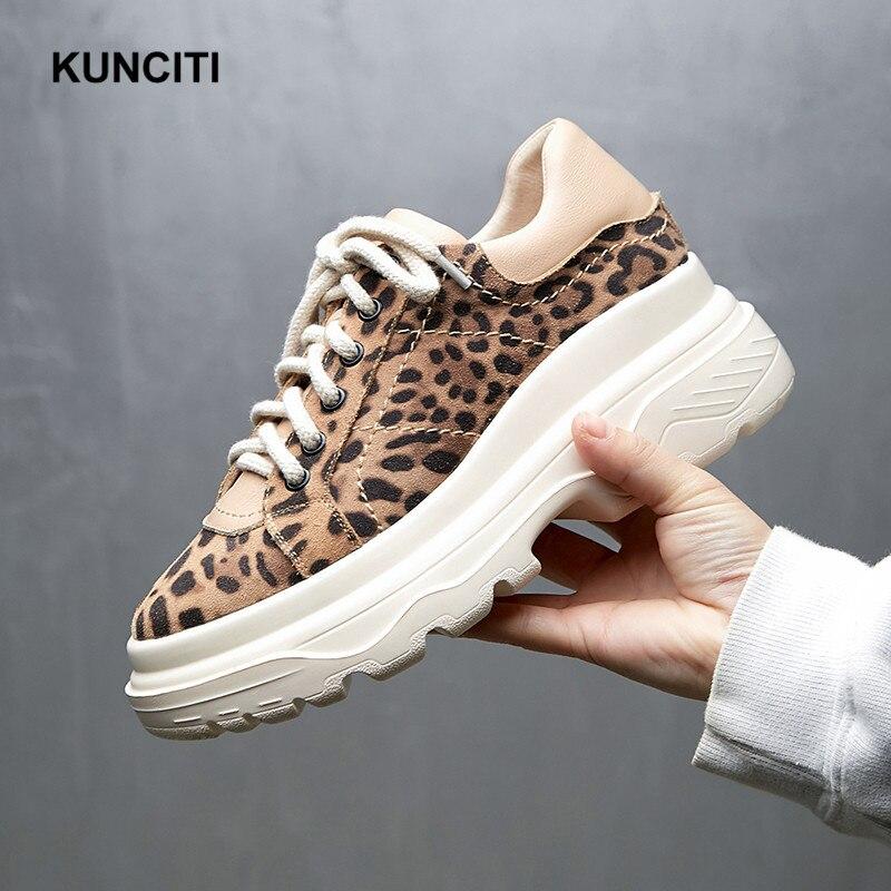 2019 Leopard Sneakers Women Lace Up Casual Shoes Suede Leather Platform Shoes Spring Autumn Comfortable Vintage