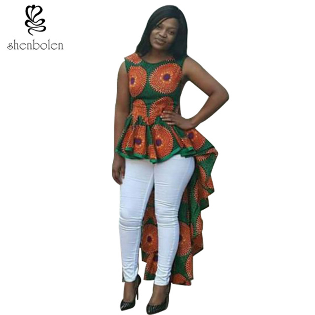 51f68d17b8 African Dresses For Women Dashiki Ankara Wax Printing Batik Pure Cotton  Fashion Irregular Shirt sleeveless plus size