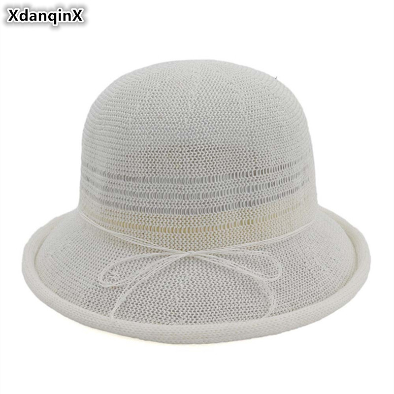 XdanqinX Summer Adult Womens Hat Breathable Sun Hats Dome Fashion Straw For Women New Foldable Elegant Noble Lady Beach