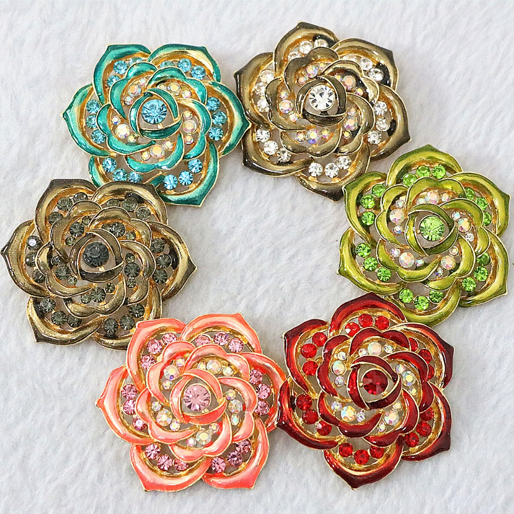 Romantic charms flower rainbow color rhinestone crystal gold plated trendy romantic pins jewelry B1237