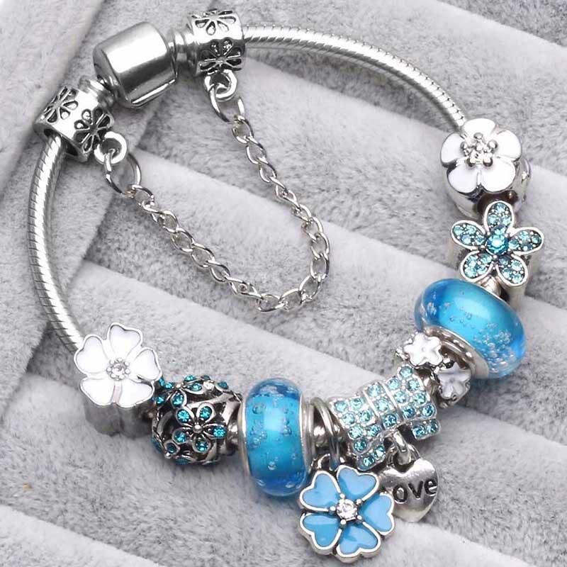 TOGORY Новая мода Grystal& стекло подсолнечника украшения в виде подвесок браслет цепочка-змея универсального размера DIY тонкий браслет для женщин ювелирный подарок - Окраска металла: Blue