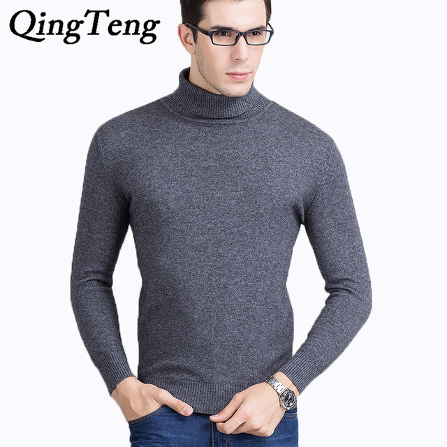 QingTeng Mens Black Cashmere Turtleneck Sweater Male Pullover Winter Warm Wool Sweater Male 100 Pure Cashmere Sweater Men