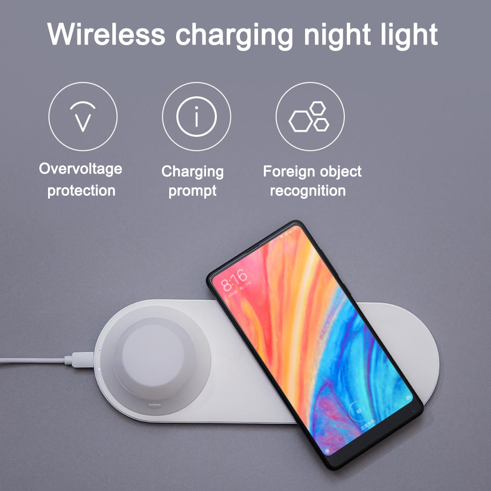LED Flicker-Free Eye Caring Night Light With Wireless Phone Charger For Reading TN88
