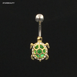 14G Green Tortoise Bijou Belly Piercing Nombril Turtle Belly Button Rings Navel Piercing Ombligo Belly Ring Pircing Body Jewelry