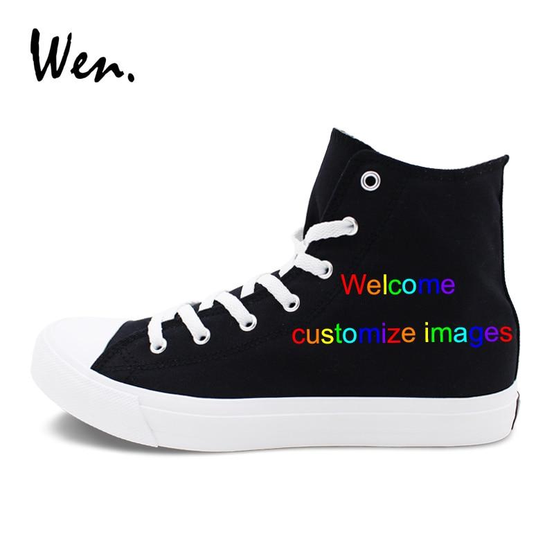Ayakk.'ten Erkek Rahat Ayakkabılar'de Wen Özel El Boyalı kanvas ayakkabılar Siyah Yüksek Top Hoşgeldiniz Özelleştirmek Görüntüler Tasarım Pazarlık Kabul göre Karmaşıklık'da  Grup 1