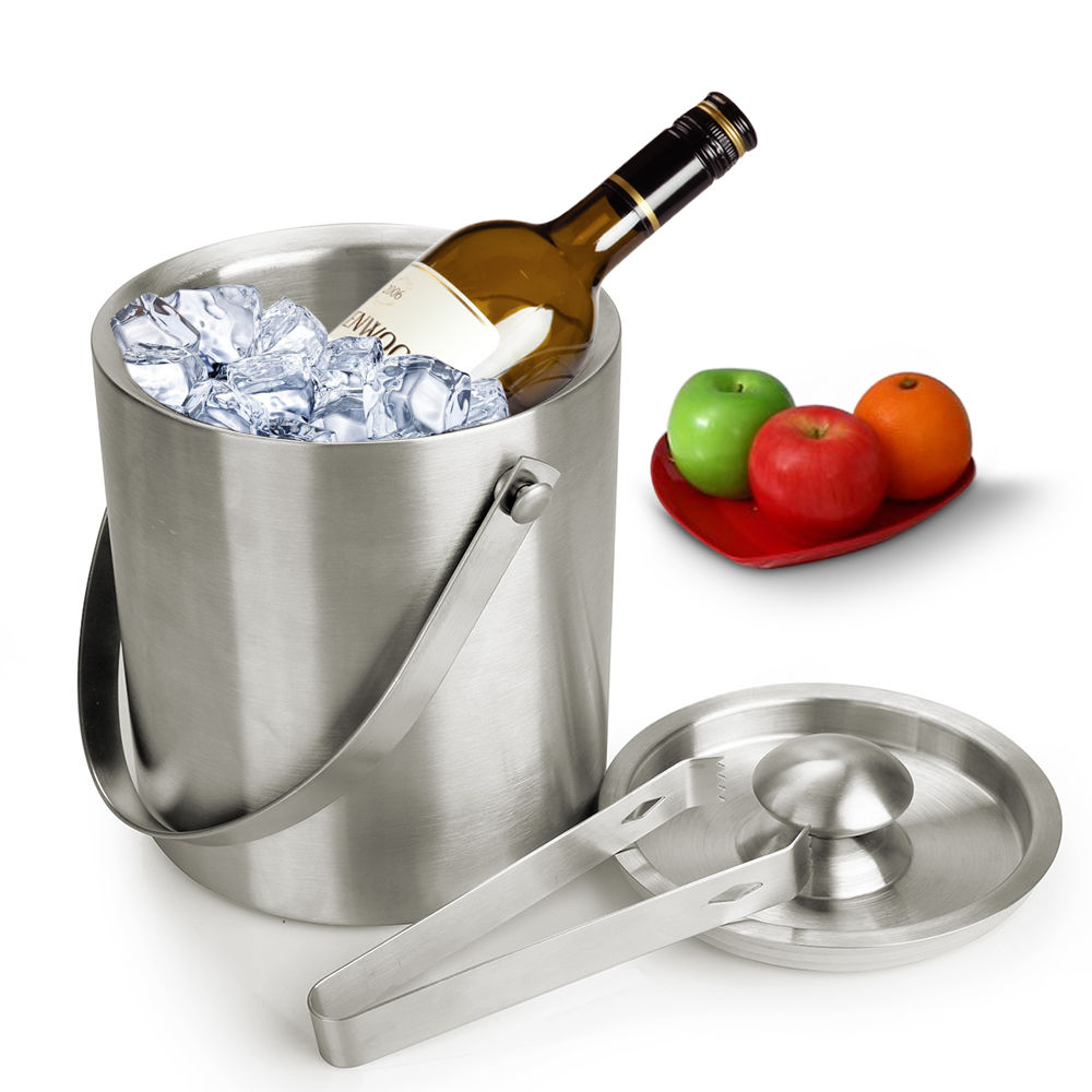 (Ship from EU) 2L Double Wall Stainless Steel Cool Ice Bucket with Bonus Tongs for Home Party Champagne Wine Beer