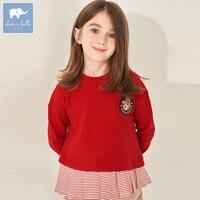 DBK8105 dave bella kids girl 5Y 13Y t shirt children boutique long sleeve tops baby fashion witt ruffles tees