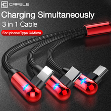 CAFELE 3 in 1 LED Light L Bend Charge USB Cable for iPhone Xr X Huawei Samsung Xiaomi Sony Elbow Charging Cable for IOS 12 11 10