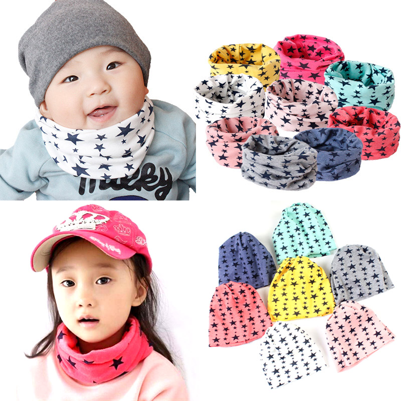 Sale Baby Kids 9 Colors Autumn Winter Warm Soft scarf Cute cotton Stars children Ring Scarf