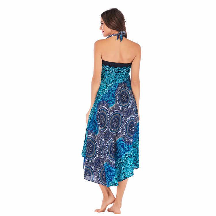 KLV женский длинный в стиле хиппи бохо цыганские цветы эластичный Цветочный Пояс юбка (1 платье с 2 способами носить) падение 2,7
