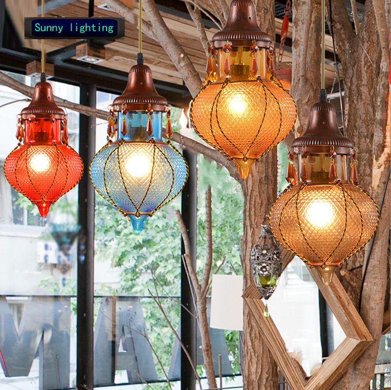 coffee shop lantern light color glass interior lamp hanging globe light restaurant vintage pendant lamp christmas light fixture one light frosted glass antique rust hanging lantern