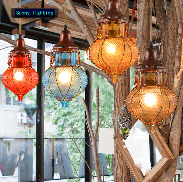 coffee shop lantern light color glass interior lamp hanging globe ...