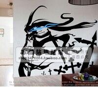 Frete grátis japonês dos desenhos animados preto rock shooter adesivos de parede decalque decoração