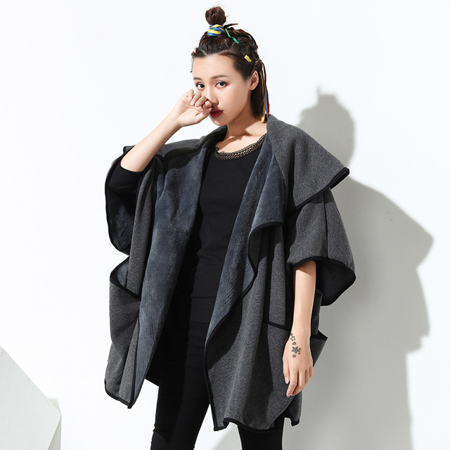 [XITAO] 2016 new arrival Europe fashion plus size solid color long coat casual female Loose batwing sleeve thick coat ZY001