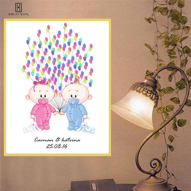 DIY Fingerprint Guestbook Souvenir Adorable Pink and Blue Babies Holding Hands Sending Best Wishes for Baby Shower Classic Decor