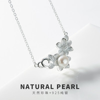 High quality 100% real 925 Sterling Silver pearl pendant necklace For Women Fashion silver 925 jewelry necklaces choker female