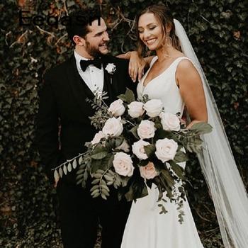 2019 New White Wedding Dress A-line Backless Elegant V Neck Satin Bridal Gown Wedding Dresses Vestidos de Noivas Plus Size