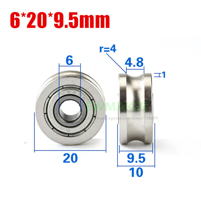 1pcs 6*20*9.5mm Non-standard Bearing Wheel, U Groove Roller Pulley, Spinning Machine Roller, For 8mm Diameter Optical Axis/track