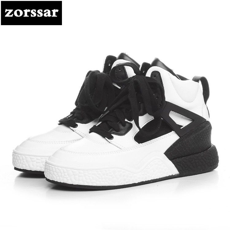 {Zorssar} Leisure flats women high top Shoes Comfortable Flat platform shoes Fashion Genuine Leather Casual women sneakers shoes minika new arrival 2017 casual shoes women multicolor optional comfortable women flat shoes fashion patchwork platform shoes