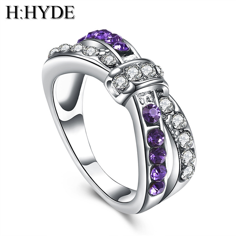 H:HYDE cross finger ring for lady paved cz zircon luxury hot Princess women Wedding Engagement Ring purple color jewelry