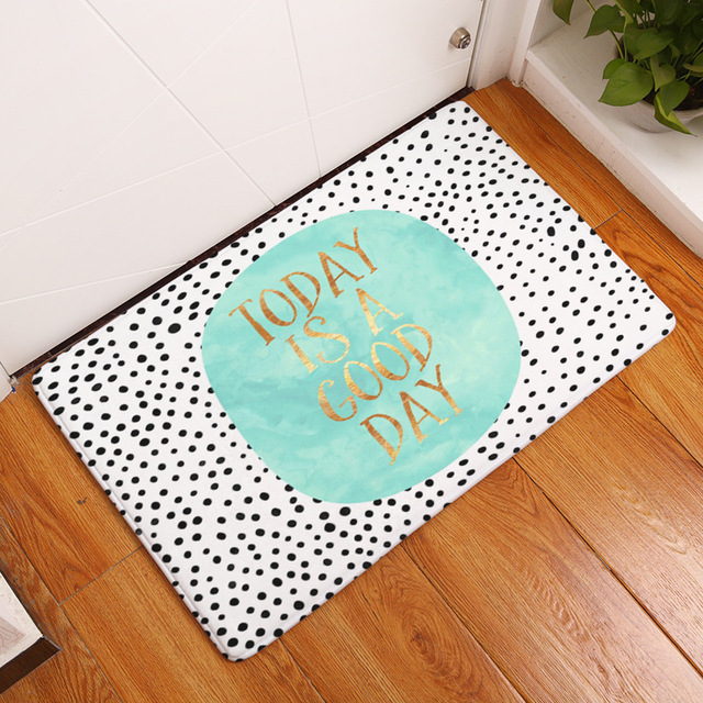 CAMMITEVER Cute Dots Letters Modern Circles Area Rug Kitchen and Bathroom Mat, Light Blue,Pink,White,Black,Coffee For Select