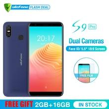Ulefone S9 Pro 5,5 дюймовый HD + мобильного телефона Android 8,1 MTK6739 4 ядра 2 Гб Оперативная память 16 Гб Встроенная память 13MP + 5MP двойной камеры заднего 4G мобильный телефон