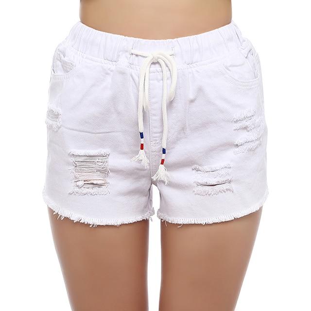 FUNOC Blanc Taille Haute Shorts Femmes D été Casual Gland Denim Shorts  Dentelle Up Trou da184e167dc