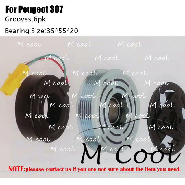 Alta calidad nuevo 6V12 AC compresor embrague para Peugeot 307 Tamaño del rodamiento: 355520 polea diámetro exterior: 119mm