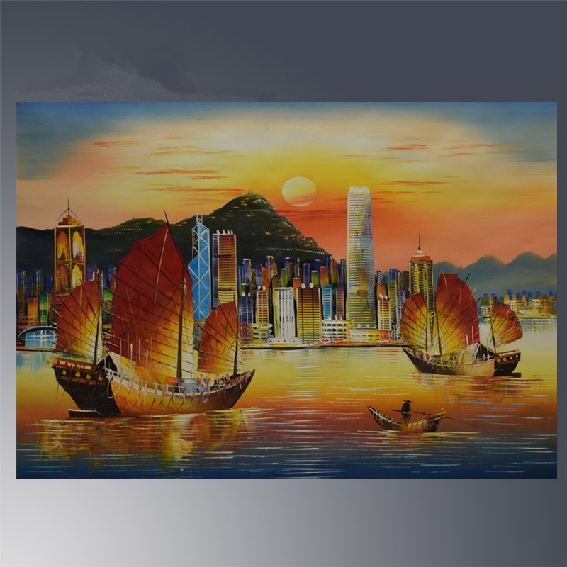 Hand painted canvas oil painting original hong kong 39 s - What time does victoria gardens open ...