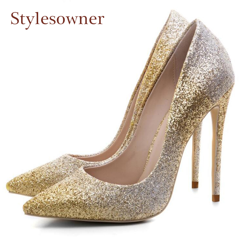 Stylesowner high quality bling women pumps sexy pointed toe high heels elegant bridal women shoes glitter party wedding shoes daidiesha pu leather high heels shoes women pointed toe glitter pumps elegant party wedding lady block heels ankle strap shoes