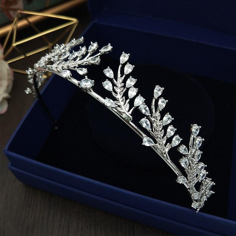 Paved CZ Crown Cubic Zircon Tiara Princess Tiaras Wedding Hair Accessories Bride Hair Jewelry Bijoux Cheveux Coroa WIGO1092