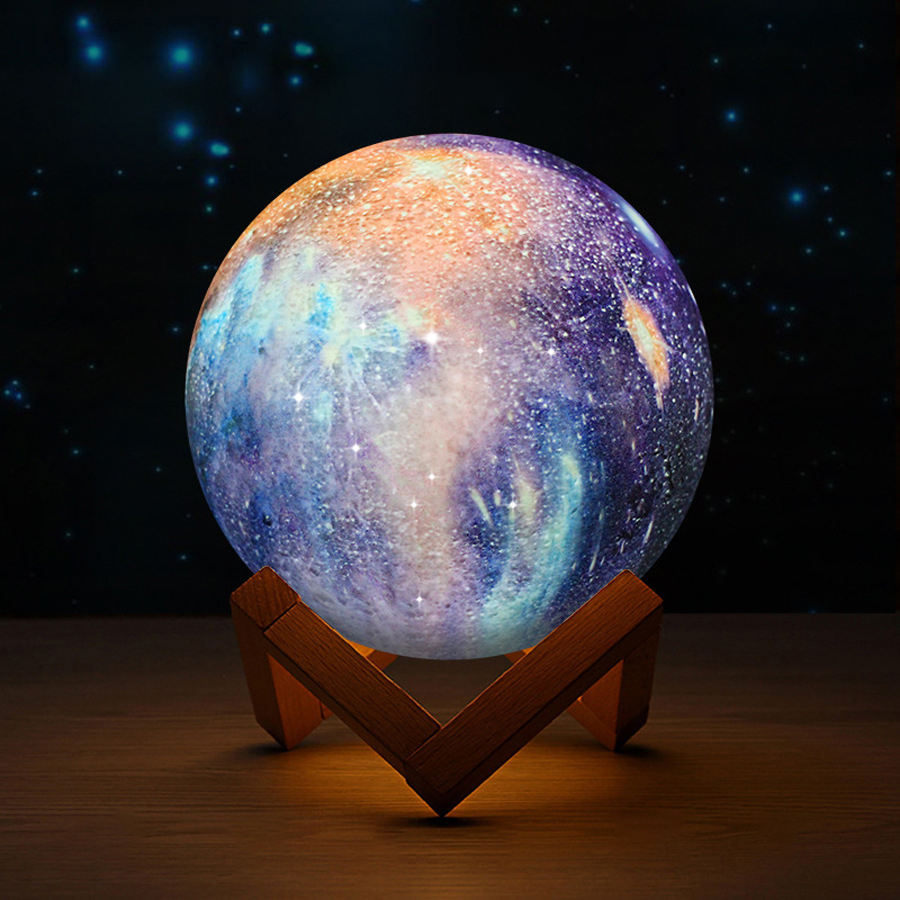 3D Moon Lamp Novelty Light 2019 New Lighting Lunar Moonlight Lamp Desk USB LED Lights Touch Sensor Color Changing Night Lamps