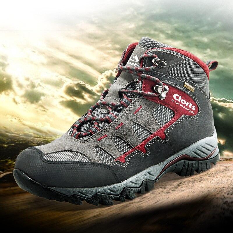 Chaussures de randonnée en cuir véritable Clorts pour hommes chaussures de randonnée en plein air imperméables pour hommes bottes de montagne d'escalade antidérapantes