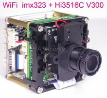 "WiFi H.265 / H.264 1/2.9"" Sony IMX323 CMOS + Hi3516C V300 CCTV IP camera PCB board module + M12 LENs + FPC Antenna"