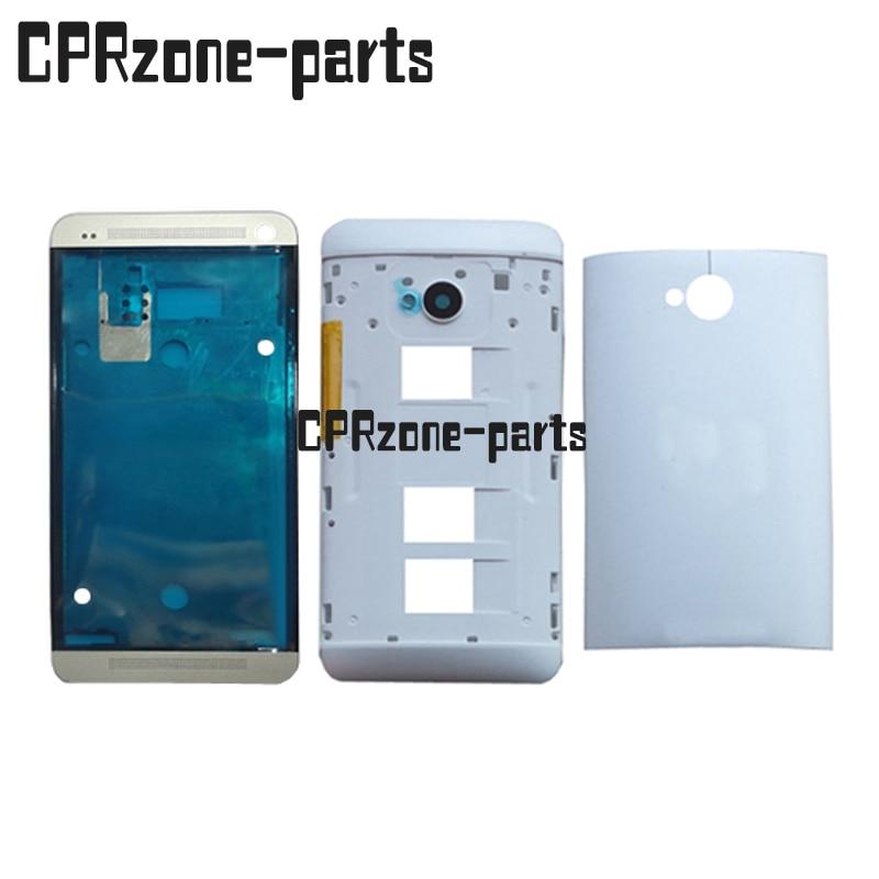 100% garantie Noir et Argent Avant + Retour Couvercle de La Batterie Cas Porte plein Logement + Cadre Pour HTC UN M7 Double Sim 802 t 802D 802 W