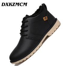 DXKZMCM Men Winter Boots Men High Quality Snow Boots For Men Warm Shoes With Fur Men's Ankle Boots