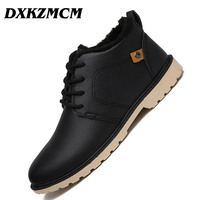 DXKZMCM Men Winter Boots Men High Quality Snow Boots For Men Warm Shoes With Fur Men's Ankle Boots