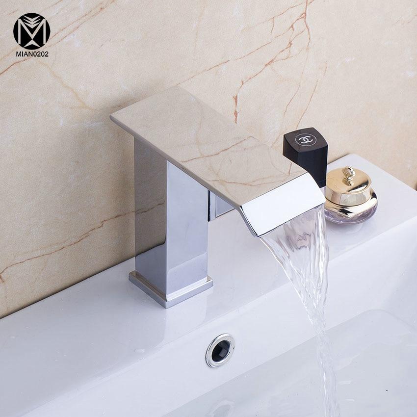 YANKSMART Basin Faucet Ceramic Waterfall Single Handle/ hole Bathroom Deck Mounted Sink Contemporary Waterfall Vessel Tap&Mixer yanksmart bath