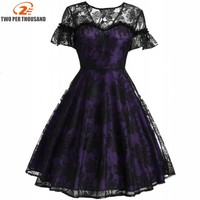 Hot Sale Womens Summer Flare Sleeve Lace Dress 2018 Vintage O Neck Slim Sexy Pin Up
