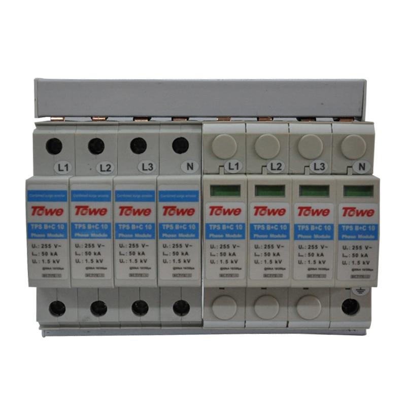 Тройная защита от перенапряжения TOWE AP B + C/10 4P 5 проводников C 8 модулей Iimp 50KA Up 1.5KV