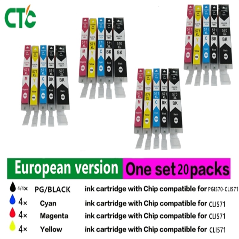 20 PK Canon PGI 570 CLI 571 XL  Ink Cartridge For Compatible canon Pixma MG5750 MG5751 MG5752 MG5753 MG6850 MG7750 MG6853 MG7753 fast shipping 2pk 74 75 xl ink cartridge for hp 74 xl 75 xl ink cartridge with 100% defective replacement
