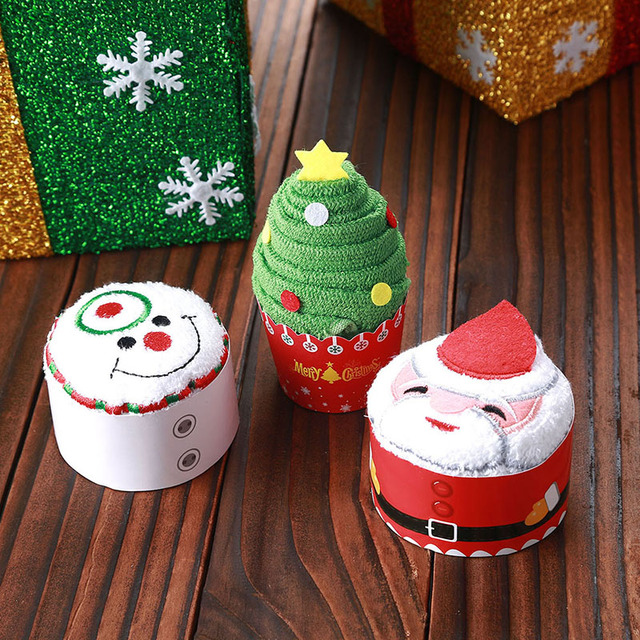 merry christmas gift cupcake cotton towel natal noel new year decoration christmas decorations for home kids