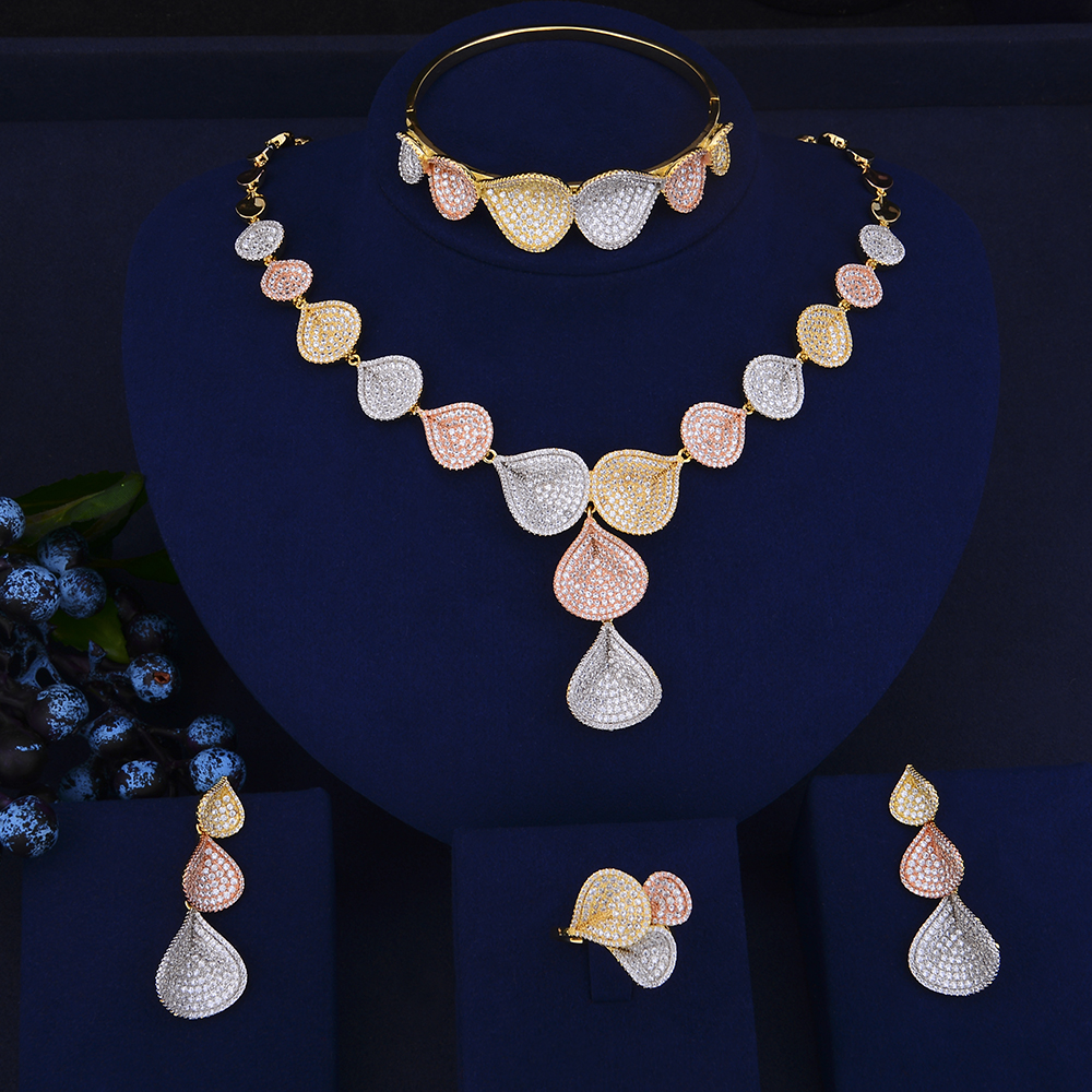 Luxury Teardrop Shape Collar Necklace Earrings Bracelet Ring Jewelry Sets Cubic Zirconia Wedding Jewelry Sets For Women 4pcs trendy flower shape indian jewelry sets cubic zirconia collar necklace stud earrings bracelet ring for women wedding