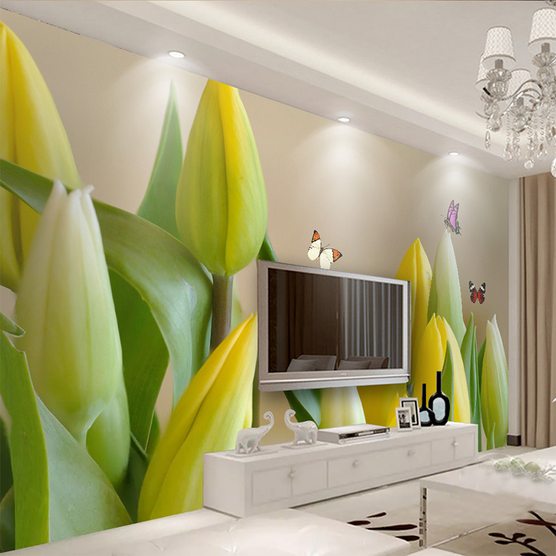 Custom 3D Mural Wallpaper Living Room Bedroom Sofa TV Background Wall Painting HD Tulip Butterfly Photo Wall Paper Roll Tapety