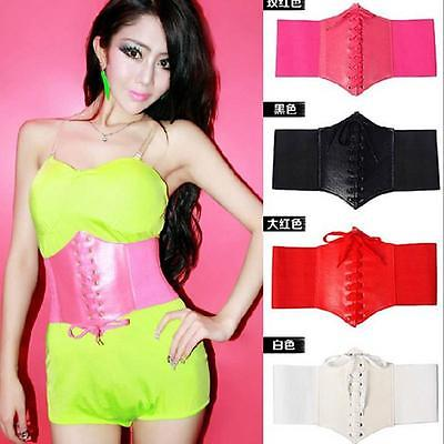 Fashion Women Artificial Leather Wide Waist Waistband Belt Corset Elastic Waspie  Extra Wide TIGHT 5 COLOR  NEW Cummerbunds