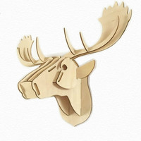 Easter Christmas 3D Jigsaw wall decorations wooden deer head DIY animal wall ornaments creative home gifts wall hanging