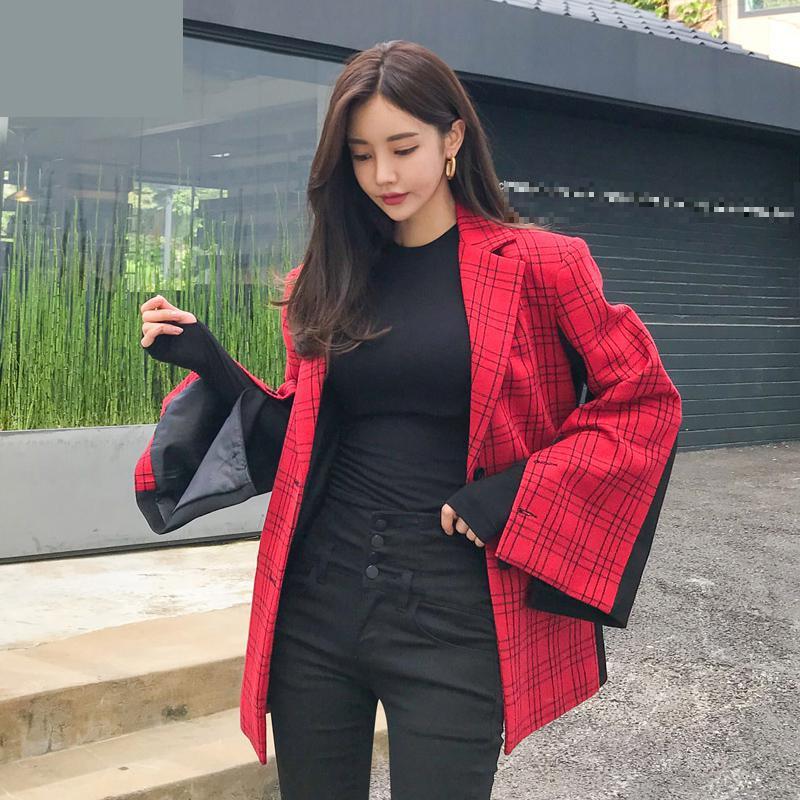 Red Vestes Croisé Femme Costume Match Laine Nouveau Plaid Getsring Tous Unique Blazer Haut Spliced Pour Manches Flare Long Les Femmes w7q1HTxz