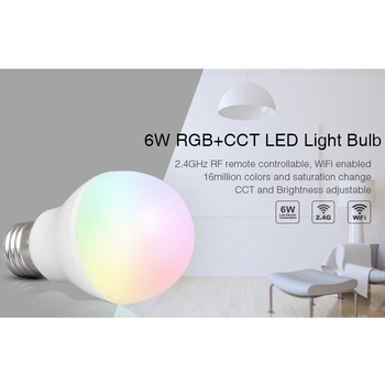 цена на NEW E27 6W RGB+CCT led bulb smart lamp AC 220V Dimmable indoor led Light Lamp can 2.4G Hz wireless remote/APP/WIFI/voice control